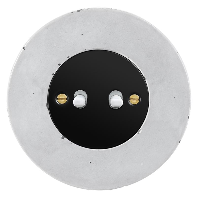 Retro betoonist kahene kanglüliti must sisu valge nupp