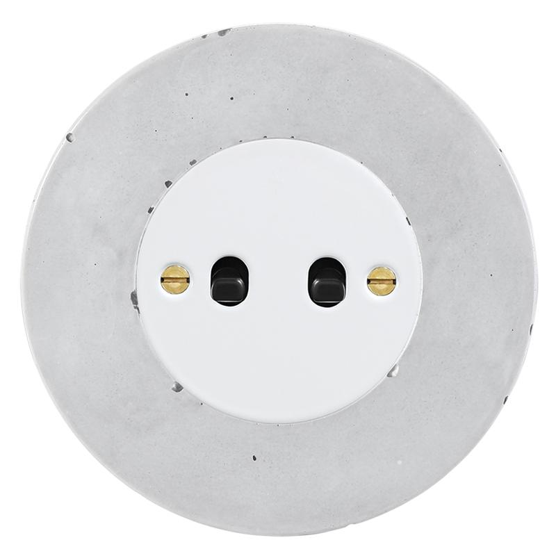 Retro betoonist kahene kanglüliti valge sisu must nupp