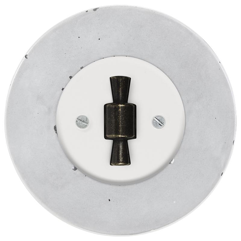 Retro betoonist keeratav lüliti valge sisu patina OBZ nupp