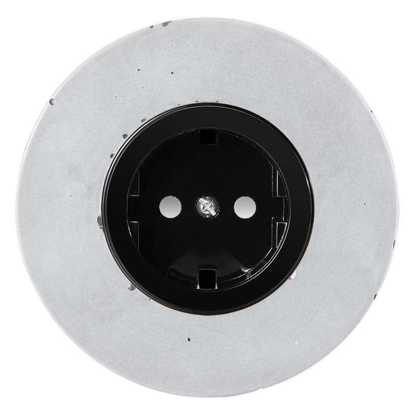 Retro betoonist pistikupesa süvistatav must sisu