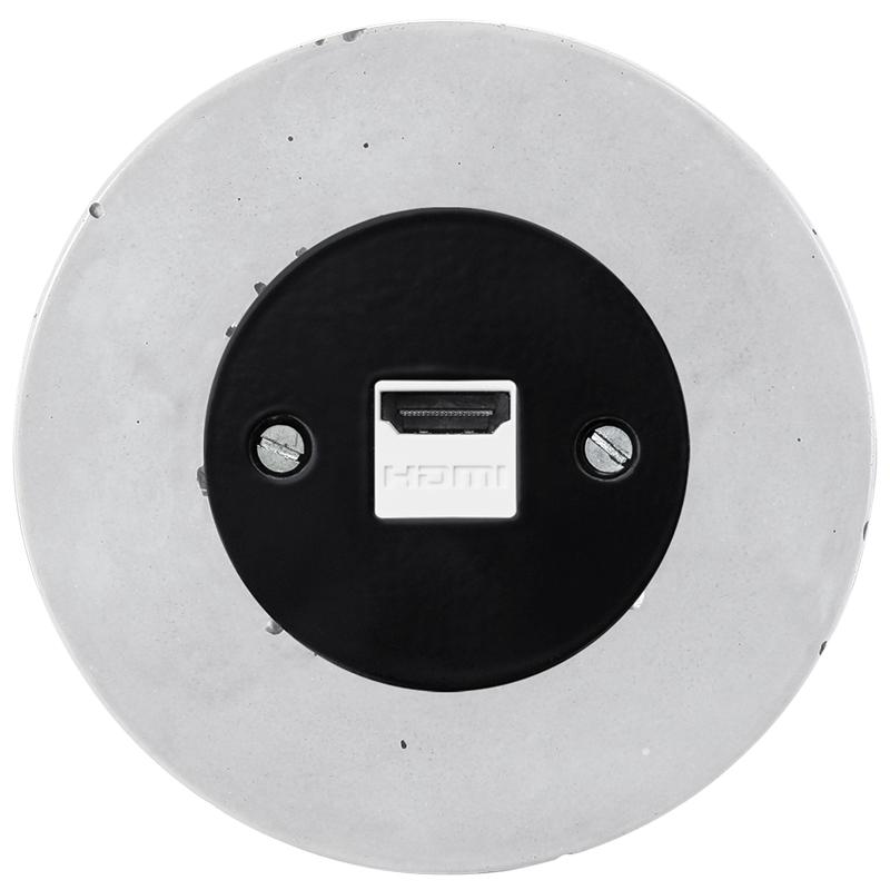 Retro betoonist süvistatav HDMI pesa must sisu