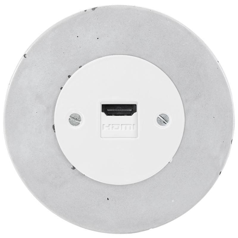 Retro betoonist süvistatav HDMI pesa valge sisu