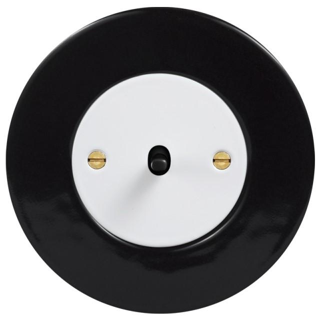 Retro keraamiline lüliti must 1 musta nupuga valge sisu