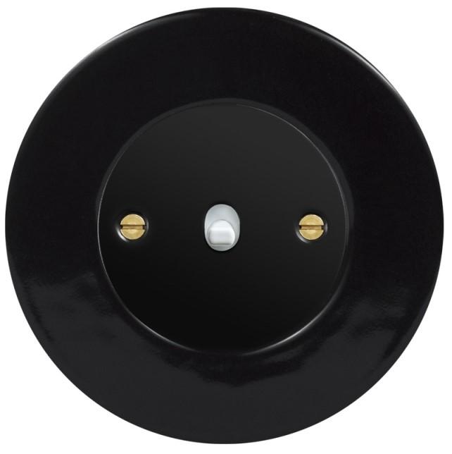 Retro keraamiline lüliti must 1 valge nupuga must sisu