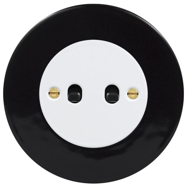 Retro keraamiline lüliti must 2 musta nupuga valge sisu