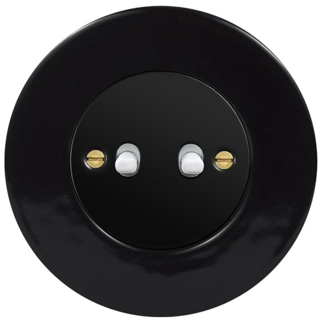 Retro keraamiline lüliti must 2 valge nupuga must sisu
