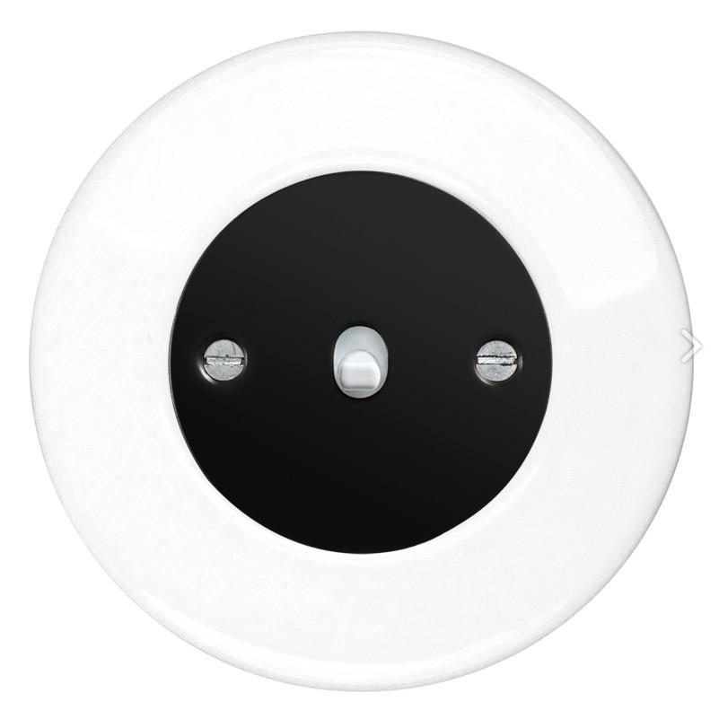 Retro keraamiline lüliti valge 1 valge nupuga must sisu