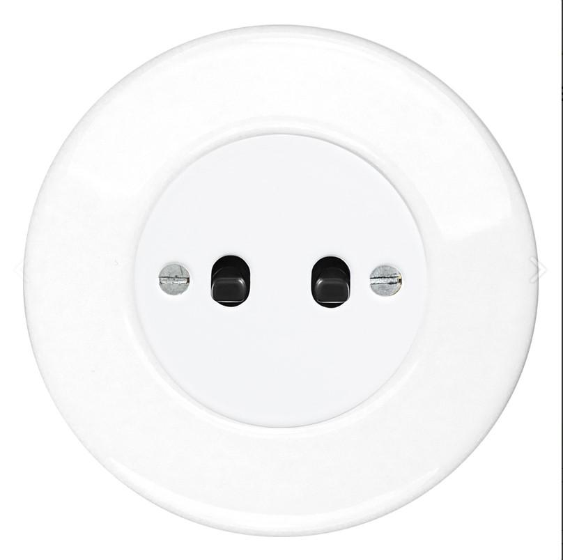 Retro keraamiline lüliti valge 2 musta nupuga valge sisu