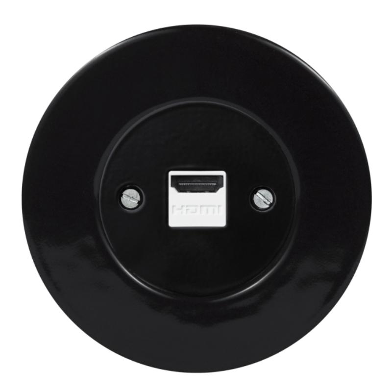 Retro keraamiline must pistikupesa must sisu hdmi