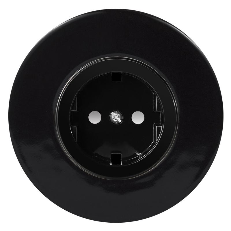 Retro must keraamiline süvistatav pistikupesa must sisu