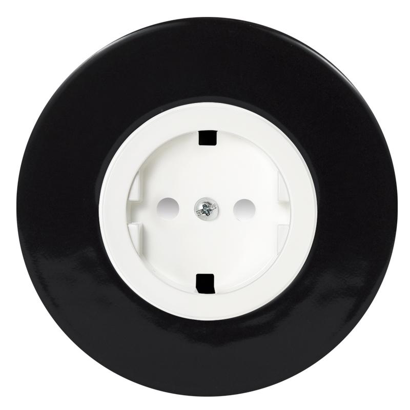 Retro must keraamiline süvistatav pistikupesa valge sisu