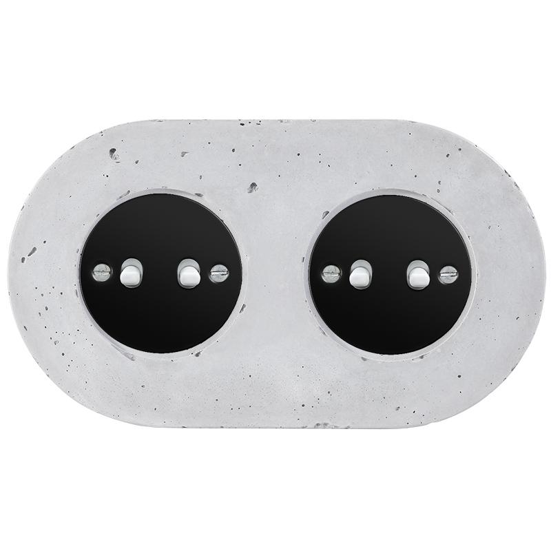Retro betoonist kahene kanglüliti must sisu valged nupud
