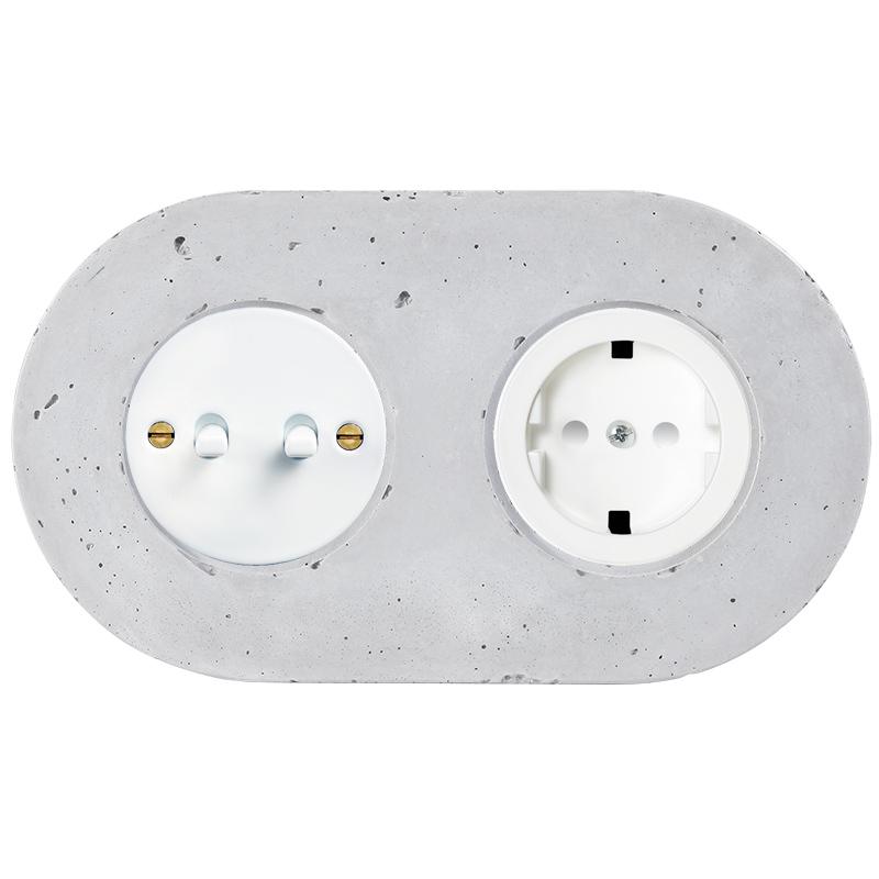 Retro betoonist kahene kanglüliti valge sisu valged nupud pistikupesa