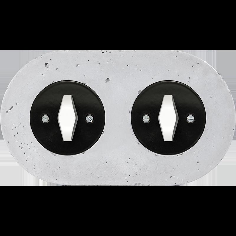 Retro betoonist kahene keeratav lüliti must sisu valge bta nupp