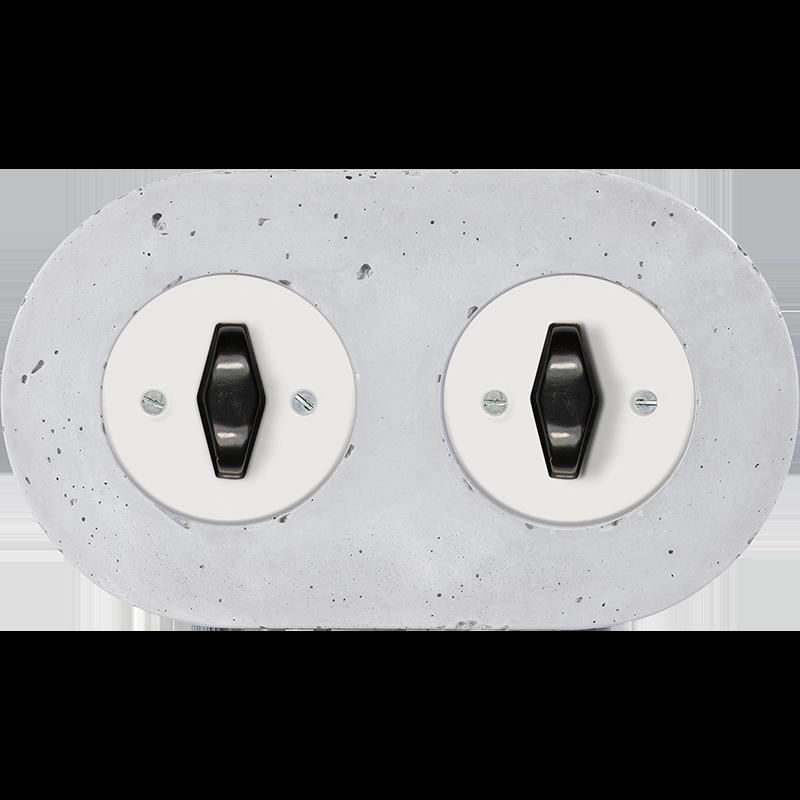 Retro betoonist kahene keeratav lüliti valge sisu must bta nupp