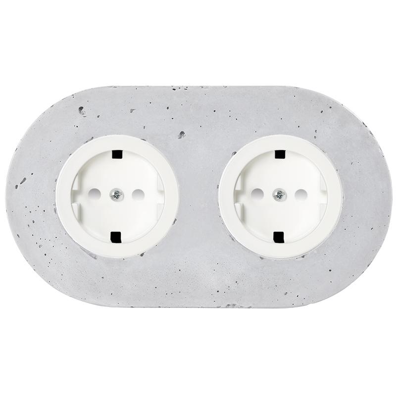 Retro betoonist kahene pistikupesa süvistatav valge sisu