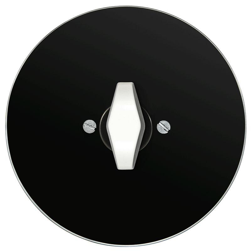 Retro klaasist keeratav lüliti must klaas valge BTA nupp