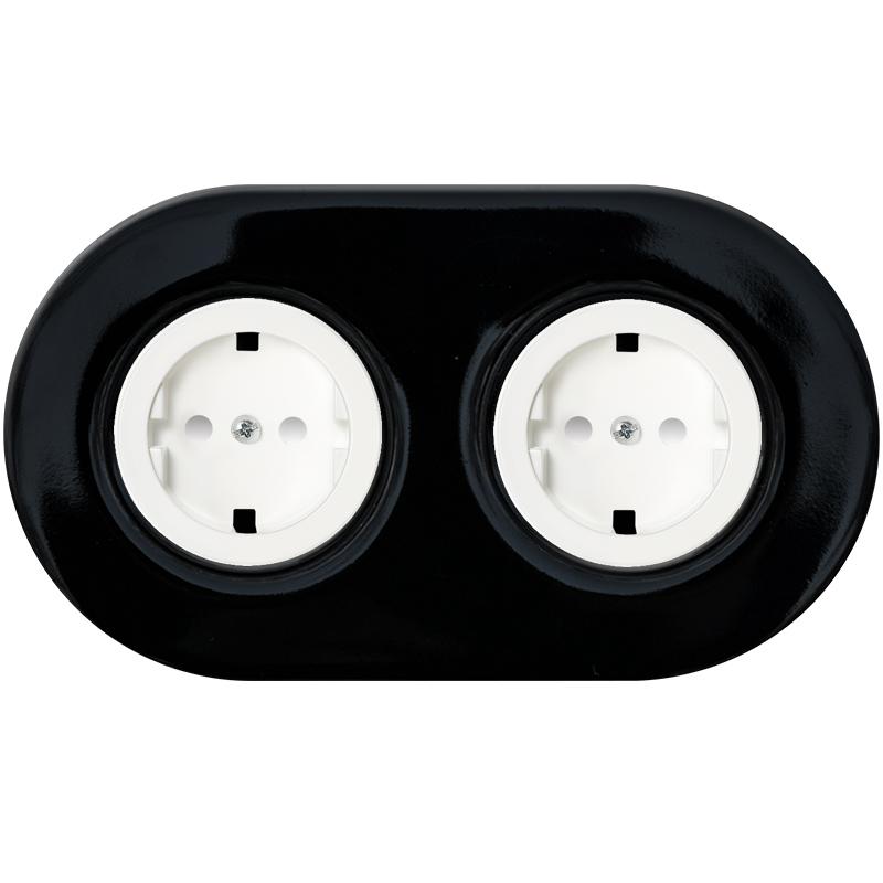 Retro must keraamiline kahene pistikupesa valge sisu